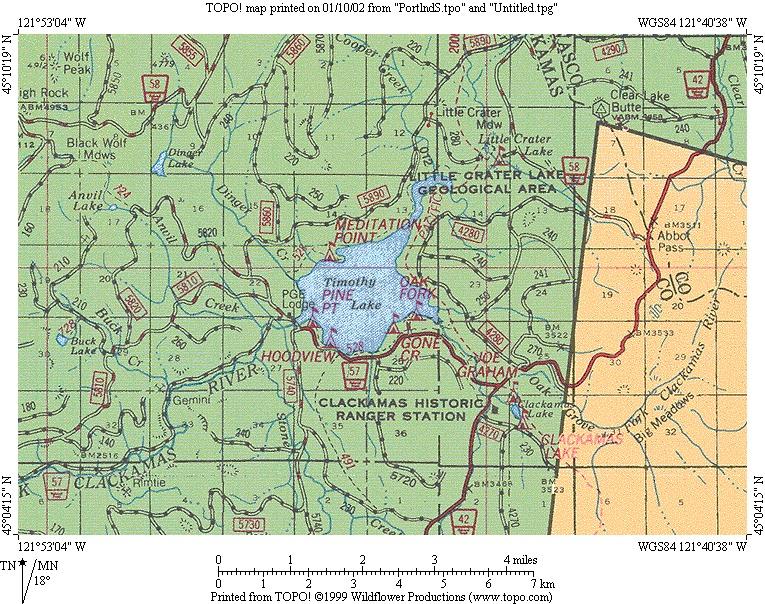 Cascade Ramblings Cascader Buck Lake Mt Hood National Forest - Oregon lakes map